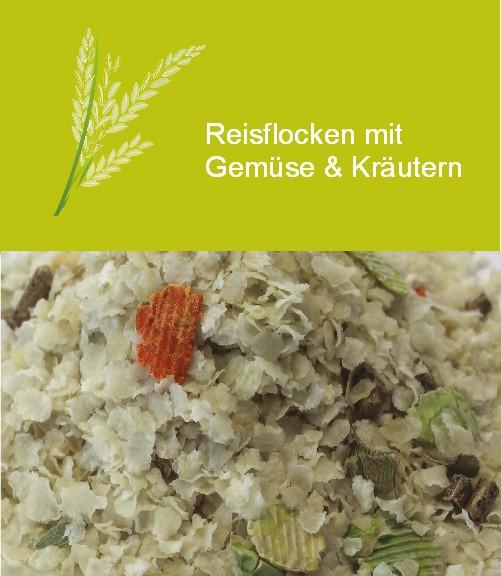 Reisflocken mit Gemüse & Kräutern